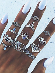 cheap -Women's Nail Finger Ring Knuckle Ring Midi Ring Crystal 13pcs Silver Alloy Geometric Statement Ladies Unusual Evening Party Masquerade Jewelry Vintage Style Horse Unicorn Flower Cool Lovely
