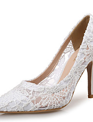 cheap -Women's Wedding Shoes Pumps Pointed Toe Wedding Party & Evening Lace White Fuchsia Blue