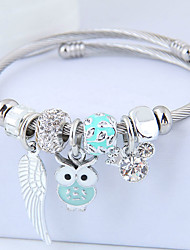 cheap -Women's Charm Bracelet Thick Chain Owl Wings Ladies European Sweet Fashion Rhinestone Bracelet Jewelry Light Purple / Green / Pink For Party Birthday
