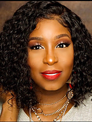 cheap -Remy Human Hair Lace Front Wig Bob style Brazilian Hair Straight Jerry Curl Wig 150% Density with Baby Hair Natural Hairline African American Wig Unprocessed Bleached Knots Women's Short Human Hair