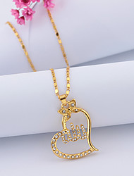 cheap -Women's Cubic Zirconia Pendant Necklace Hollow Out Heart Butterfly Hollow Heart Ladies Romantic Fashion Rhinestone Alloy Gold Rose Gold 50+5 cm Necklace Jewelry 1pc For Going out Work