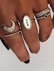 cheap -Women's Knuckle Ring Ring Set Multi Finger Ring 5pcs Gold Silver Resin Alloy Oval Ladies Vintage Punk Gift Daily Jewelry Retro Moon Cool