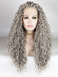 cheap -Synthetic Lace Front Wig Water Wave Loose Curl Free Part Lace Front Wig Long Grey Synthetic Hair 18-26 inch Women's Fashionable Design Soft Adjustable Gray