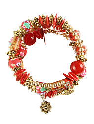 cheap -Women's Bead Bracelet Retro Fashion Colorful Alloy Bracelet Jewelry Red / Dark Red / Light Blue For Daily Festival