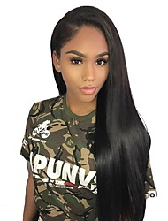 cheap -Remy Human Hair Full Lace Lace Front Wig Asymmetrical style Brazilian Hair Straight Natural Straight Natural Black Wig 130% 150% 180% Density with Baby Hair Classic Women Best Quality Hot Sale Women's