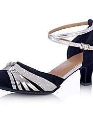 cheap -Women's Modern Shoes / Ballroom Shoes Satin Ankle Strap Sandal / Heel Bowknot / Buckle Flared Heel Customizable Dance Shoes Black / Performance