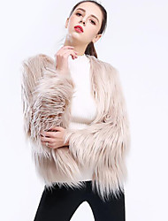 cheap -Long Sleeve Coats / Jackets Faux Fur Wedding / Party / Evening Women's Wrap With Solid