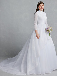 cheap -Ball Gown High Neck Chapel Train Lace / Tulle Long Sleeve Made-To-Measure Wedding Dresses with Buttons / Lace 2020