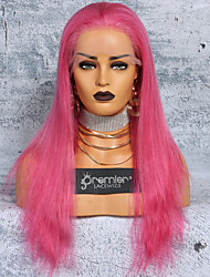 cheap -Virgin Human Hair Full Lace Wig Deep Parting With Ponytail Kardashian style Brazilian Hair Silky Straight Pink colorful Wig 150% Density 12-24 inch with Baby Hair Smooth Best Quality Hot Sale Thick