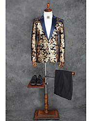 cheap -Patterned Tailored Fit Polyester Suit - Shawl Collar Single Breasted One-button / Suits