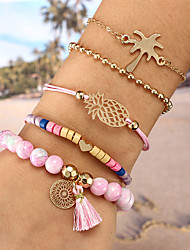 cheap -Women's Pink Tassel Strand Bracelet Bracelet - Heart, Pineapple, Coconut Tree Bohemian, Fashion Bracelet Gold For Gift Birthday / 5pcs
