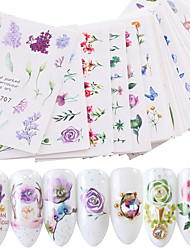 cheap -24 pcs Water Transfer Sticker Flower Series / Flower nail art Manicure Pedicure New Design / Best Quality / High quality, formaldehyde free Sweet Lolita / Sweet Christmas / Party / Evening