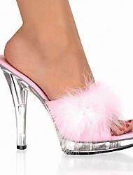cheap -Women's Slippers & Flip-Flops Crystal Sandals Peep Toe Crystal / Feather PVC Classic / Lucite Heel Summer Black / White / Red / Party & Evening