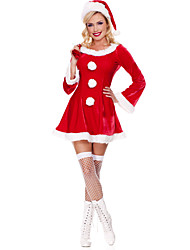cheap -Santa Suit Santa Clothes Adults' Women's Christmas Halloween Festival / Holiday Pleuche Red Women's Easy Carnival Costumes Solid Colored / Skirt / Hat / Skirt / Hat