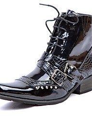 cheap -Men's Fashion Boots Patent Leather Winter Casual / British Boots Warm Mid-Calf Boots Black / Office & Career / Combat Boots