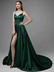 cheap -A-Line Spaghetti Strap Court Train Satin Beautiful Back / Furcal Formal Evening Dress 2020 with Split Front / Pleats