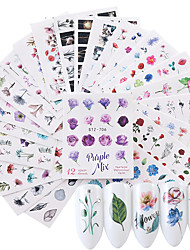 cheap -24 pcs Water Transfer Sticker Flower Series / Flower nail art Manicure Pedicure New / High quality, formaldehyde free Sweet Lolita / Sweet Christmas / Party / Evening / Masquerade
