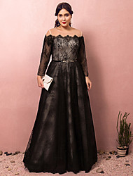 cheap -A-Line Plus Size Black Prom Formal Evening Dress Illusion Neck Off Shoulder Long Sleeve Floor Length Lace Satin Tulle with Sash / Ribbon 2020