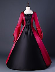 cheap -Dress Cosplay Costume Masquerade Ball Gown Women's Victorian Medieval Renaissance Christmas Halloween Carnival Festival / Holiday Satin Red Carnival Costumes Plus Size Customized Ball Gown Solid