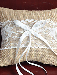 cheap -Fabric Bowknot / Lace Linen Ring Pillow Pillow All Seasons