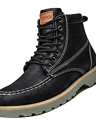 cheap -Men's Combat Boots PU Fall Casual Boots Non-slipping Mid-Calf Boots Black / Army Green / Gray