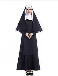 cheap -Nun Dress Cosplay Costume Adults' Women's Dresses Halloween Halloween Masquerade Festival / Holiday Terylene Black Female Carnival Costumes Solid Colored Simple