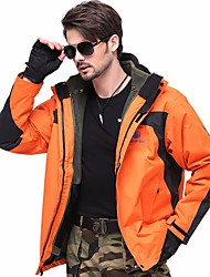 cheap -Men's Hiking 3-in-1 Jackets Winter Outdoor Thermal / Warm Windproof Breathable Rain Waterproof 3-in-1 Jacket Winter Jacket Single Slider Hiking Hunting and Fishing Camping / Hiking / Caving Orange