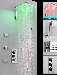 cheap -Shower Faucet / Bathroom Sink Faucet - Contemporary Chrome Wall Mounted Brass Valve LED Bath Shower Mixer Taps