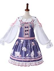 cheap -Sweet Lolita Casual Lolita Dress Girls' Female Japanese Cosplay Costumes Light Purple Pattern Bowknot Lace Juliet Sleeve Long Sleeve Knee Length