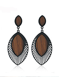 cheap -Women's Drop Earrings Dangle Earrings Hollow Out Ladies Stylish European African Wooden Earrings Jewelry Black For Club 1 Pair
