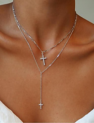 cheap -Women's Y Necklace Layered Necklace Classic Cross Ladies Romantic Fashion Alloy Gold Silver 33+5 cm Necklace Jewelry 1pc For Daily Festival