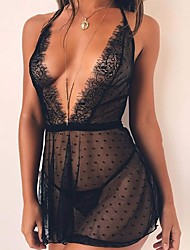 cheap -Women's Lace Backless Transparent Plus Size Sexy Babydoll & Slips Suits Nightwear Solid Colored Black S M L / Halter Neck