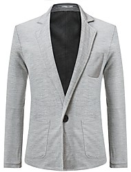 cheap -Men's Daily / Going out Basic Spring / Fall & Winter Regular Blazer, Solid Colored Shirt Collar Long Sleeve Cotton / Polyester Black / Navy Blue / Light gray / Slim