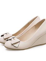 cheap -Women's Heels Wedge Heel PU Spring White / Pink / Beige / Daily