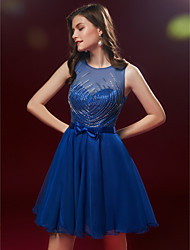 cheap -A-Line Cute Beaded & Sequin Homecoming Cocktail Party Dress Boat Neck Sleeveless Short / Mini Tulle with Beading 2020