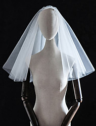 cheap -Four-tier Classic / Love Wedding Veil Shoulder Veils with Solid Tulle