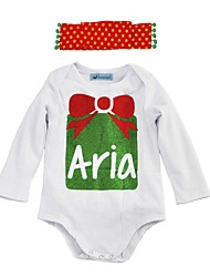 cheap -Baby Girls' Active / Basic Christmas / Daily Print Printing Long Sleeve Cotton Romper White