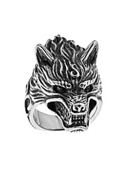 cheap -Men's Band Ring 1pc Silver Titanium Steel Circular Tattoo Style Vintage Guro Lolita Halloween Carnival Jewelry Engraved Wolf Head Cool