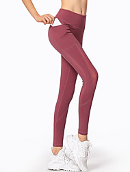 cheap -Women's Yoga Pants Winter Patchwork See Through Solid Color Black Red Brown Mesh Elastane Zumba Running Fitness Tights Sport Activewear Quick Dry Soft Butt Lift Power Flex High Elasticity Skinny