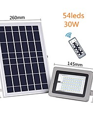 cheap -1pc 30W Solar Flood Light Remote Control Waterproof Outdoor Security Light with 54 LED for Garage Yard Garden Lawn Basketball Court