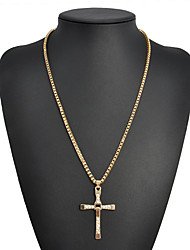 cheap -Men's Pendant Necklace Classic Stylish Cross Simple Classic Fashion Rhinestone Alloy Gold Silver 46 cm Necklace Jewelry 1pc For Club Bar
