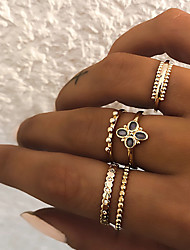cheap -Women's Knuckle Ring Ring Set Multi Finger Ring 5pcs Gold Silver Resin Imitation Diamond Alloy Circle Ladies Vintage Punk Gift Daily Jewelry Retro Clover Cool