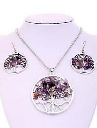 cheap -Women's Amethyst Gemstone Drop Earrings Pendant Necklace Hollow Out Tree of Life life Tree Ladies Stylish Unique Design European Elegant Silver Plated Earrings Jewelry Purple For Party Gift