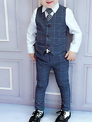 cheap -Kids Boys' Blouse Suit & Blazer Clothing Set Plaid Long Sleeve 5 Pieces Tie Knot Party Wedding Prom Blue Dark Gray Outfits Formal Regular 3-8 Years