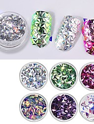cheap -Acrylic Glitter Powder 3D Nail Stickers Sequins For Finger Nail Toe Nail 3D Interface / Color-Changing Romantic Series nail art Manicure Pedicure Stylish / Trendy Special Occasion / Daily