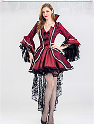 cheap -Vampire Dress Cosplay Costume Party Costume Adults' Women's Dresses Halloween Halloween Masquerade Festival / Holiday Lace Terylene Red Female Carnival Costumes Printing Halloween / Satin