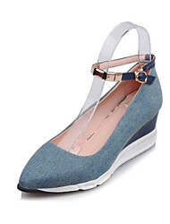cheap -Women's Heels Pumps Wedge Heel Denim Spring Light Blue / Dark Blue / Daily