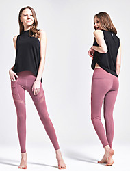 cheap -Women's Elastic Waistband See Through Yoga Pants Solid Color Elastane Zumba Dance Gym Workout Leggings Bottoms Activewear Breathable Moisture Wicking Soft Tummy Control High Elasticity Regular Fit