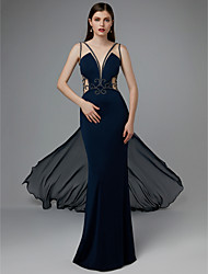 cheap -Sheath / Column Beautiful Back Formal Evening Black Tie Gala Dress Plunging Neck Sleeveless Court Train Chiffon Lace with Beading Appliques 2020