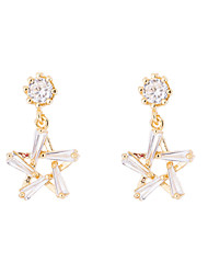 cheap -Women's AAA Cubic Zirconia Drop Earrings Link / Chain Star Ladies Korean Silver Plated Gold Plated Austria Crystal Earrings Jewelry Gold / Silver For Daily 1 Pair
